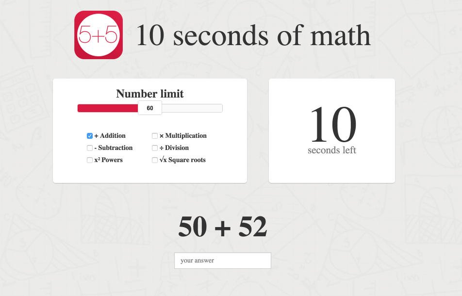10 seconds of math