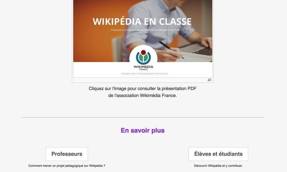 Wikipedia en classe