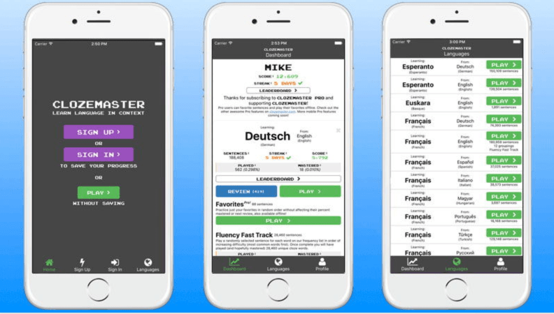 Application mobile clozemaster
