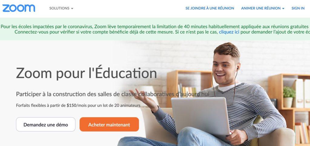Zoom pour l'éducation