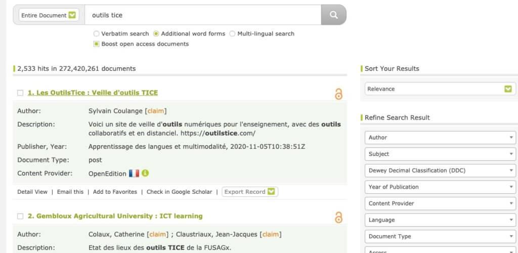 moteur de recherche academique